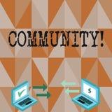 Εννοιολογικό χέρι που γράφει παρουσιάζοντας Κοινότητα Ενότητα συμμαχίας κρατικών συνεταιρισμών ένωσης γειτονιάς κειμένων επιχειρη απεικόνιση αποθεμάτων