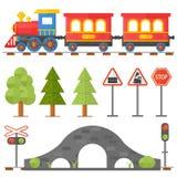 Η έννοια σχεδίου σιδηροδρόμων έθεσε με τα επίπεδα εικονίδια τραίνων παιχνιδιών επιβατών σιδηροδρόμου διαχειριστών σταθμών τη διαν απεικόνιση αποθεμάτων