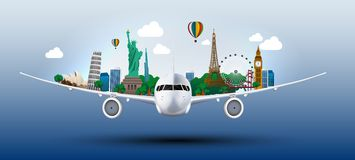 Η έννοια ταξιδεύει τον κόσμο στα αεροπλάνα Στοκ φωτογραφία με δικαίωμα ελεύθερης χρήσης