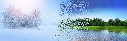Η έννοια της αλλαγής του χειμερινού καλοκαιριού εποχών με την καταστροφή και την επέκταση της έκρηξης της φωτογραφίας εικονοκυττά ελεύθερη απεικόνιση δικαιώματος