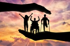 Η έννοια της βοήθειας και προστασία των δικαιωμάτων των προσώπων ανάπηρων Στοκ Εικόνες