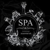 Η έννοια της διαδικασίας SPA με τα λουλούδια, μπουκάλια Στοκ Φωτογραφίες