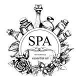 Η έννοια της διαδικασίας SPA με τα λουλούδια, μπουκάλια Στοκ εικόνα με δικαίωμα ελεύθερης χρήσης