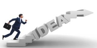 Η έννοια της ιδέας με τον επιχειρηματία που αναρριχείται στα σκαλοπάτια βημάτων Στοκ Φωτογραφίες