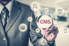 Η έννοια της ικανοποιημένης διοίκησης ιστοχώρου συστημάτων διαχείρισης cms Στοκ Φωτογραφία