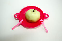 Η έννοια της κατάλληλης διατροφής Apple και ακίδα Στοκ φωτογραφία με δικαίωμα ελεύθερης χρήσης