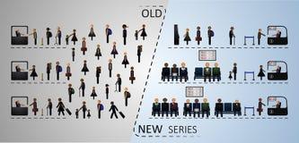 Η έννοια της παραδοσιακής και ηλεκτρονικής σειράς αναμονής συγκριτικά Στοκ Φωτογραφίες