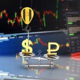 Η έννοια του δολαρίου υποστήριξης συναλλαγματικής ισοτιμίας εναντίον του ρουβλιού ο γερανός τραβά το δολάριο επάνω και χαμηλώνει  διανυσματική απεικόνιση
