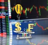 Η έννοια του δολαρίου υποστήριξης συναλλαγματικής ισοτιμίας εναντίον του φράγκου ο γερανός τραβά το δολάριο επάνω και χαμηλώνει τ διανυσματική απεικόνιση