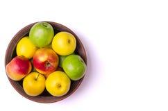 Η έννοια του υγιούς φαγητού, φρέσκα μήλα σε ένα πιάτο, που απομονώνεται Στοκ Φωτογραφία