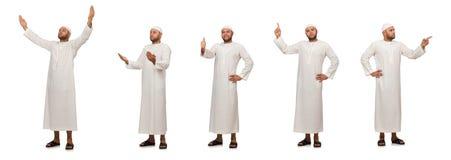 Η έννοια το αραβικό άτομο που απομονώνεται με στο λευκό Στοκ εικόνες με δικαίωμα ελεύθερης χρήσης