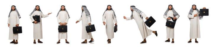 Η έννοια το αραβικό άτομο που απομονώνεται με στο λευκό Στοκ Εικόνες
