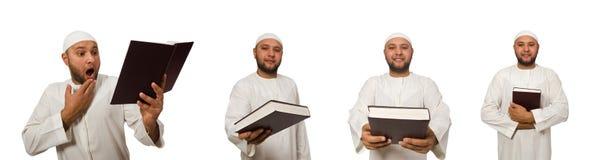 Η έννοια το αραβικό άτομο που απομονώνεται με στο λευκό Στοκ φωτογραφία με δικαίωμα ελεύθερης χρήσης