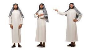 Η έννοια το αραβικό άτομο που απομονώνεται με στο λευκό Στοκ Φωτογραφίες