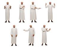 Η έννοια το αραβικό άτομο που απομονώνεται με στο λευκό Στοκ Φωτογραφία