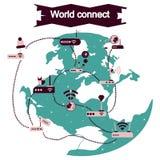 Η έννοια των επίπεδων εικονιδίων με το μακρύ κόσμο σκιών συνδέει Στοκ Εικόνα