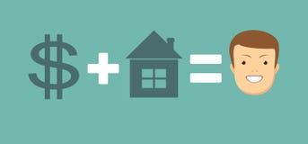 Η έννοια των χρημάτων και του σπιτιού σας φέρνει την ευτυχία ελεύθερη απεικόνιση δικαιώματος