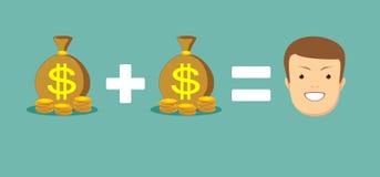 Η έννοια των χρημάτων σας φέρνει την ευτυχία διανυσματική απεικόνιση