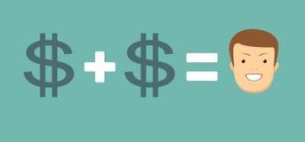 Η έννοια των χρημάτων σας φέρνει την ευτυχία ελεύθερη απεικόνιση δικαιώματος