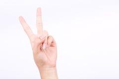 Η έννοια δύο συμβόλων χεριών δάχτυλων μάθημα σημείων μαθαίνει το σημάδι διδασκαλίας και νίκης στο άσπρο υπόβαθρο Στοκ Εικόνα