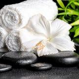 Η έννοια SPA άσπρα hibiscus ανθίζει, μπαμπού και πετσέτες στο zen β Στοκ Εικόνα