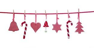 Η ένωση απομόνωσε την κόκκινη και άσπρη ελεγμένη διακόσμηση Χριστουγέννων Στοκ φωτογραφίες με δικαίωμα ελεύθερης χρήσης