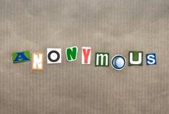 Η λέξη ανώνυμη στοκ φωτογραφία με δικαίωμα ελεύθερης χρήσης