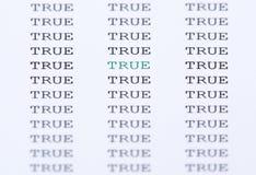 Η λέξη αληθινή που περιβάλλει από το παρόμοιο κείμενο Στοκ φωτογραφίες με δικαίωμα ελεύθερης χρήσης