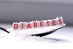Η λέξη διαβήτη διαμόρφωσε με τις πλαστικές χάντρες επιστολών που τοποθετήθηκαν σε ένα σύνολο κουταλιών της ζάχαρης Στοκ εικόνες με δικαίωμα ελεύθερης χρήσης