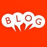 Η λέξη BLOG στην ομιλία βράζει τρισδιάστατος Στοκ εικόνα με δικαίωμα ελεύθερης χρήσης