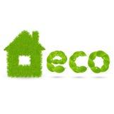 Η λέξη Eco φιαγμένη από πράσινο βγάζει φύλλα Διανυσματική απεικόνιση