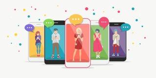 Η έξυπνη έννοια τηλεφωνικού εθισμού επίπεδη διανυσματική απεικόνιση των εφήβων μέσα στα κινητά smartphones με την ομιλία συνομιλί διανυσματική απεικόνιση