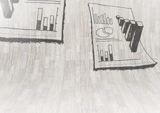 η έρευνα στατιστικής σχεδιάζει τη γραφική παράσταση στον κυρτό ξύλινο τοίχο Στοκ Εικόνα