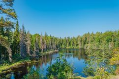 Η ήρεμη εσωτερική λίμνη του νησιού Valaam Η μοναδική φύση της Καρελίας στοκ φωτογραφία με δικαίωμα ελεύθερης χρήσης