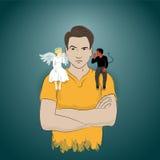 Η λήψη συμβουλεύει από τον άγγελο και το διάβολο Στοκ φωτογραφία με δικαίωμα ελεύθερης χρήσης