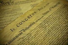 Η δήλωση ανεξαρτησίας και το σύνταγμα των ΗΠΑ Στοκ Φωτογραφία