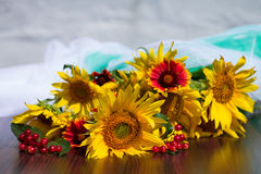 Ηλίανθοι, viburnum και κόκκινα λουλούδια σε ένα θολωμένο υπόβαθρο Στοκ Εικόνα