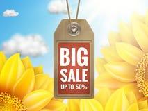 Ηλίανθος με το μπλε ουρανό - πώληση φθινοπώρου 10 eps Στοκ Εικόνες