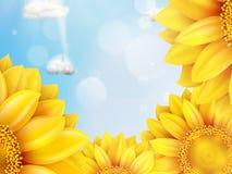 Ηλίανθος με το μπλε ουρανό - φθινόπωρο 10 eps Στοκ Εικόνα