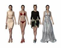 Η ίδια γυναίκα, ίδιο πράγμα θέτει, τέσσερις διαφορετικές εξαρτήσεις διανυσματική απεικόνιση