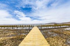 Η λίμνη και το ξύλινο τρίποδο στοκ εικόνες