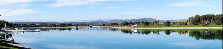 Η λίμνη Schwarzl βλέπει, πανόραμα του Styria (Αυστρία) Στοκ φωτογραφία με δικαίωμα ελεύθερης χρήσης