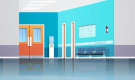 Η αίθουσα αναμονής διαδρόμων νοσοκομείων με τις καρέκλες πινάκων πληροφοριών δεν ανυψώνει και πόρτες κενές κανένα εσωτερικό διαμέ ελεύθερη απεικόνιση δικαιώματος