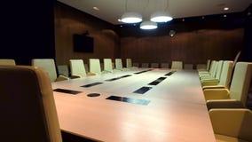 Η αίθουσα συνεδριάσεων είναι έτοιμη για το συνέδριο χειμερινών ποδηλάτων απόθεμα βίντεο