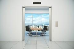 Η αίθουσα συνδιαλέξεων με την άποψη πόλεων εμφανίζεται από το doo ανελκυστήρων απεικόνιση αποθεμάτων