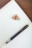 Η λαβή μελανιού βρίσκεται στην κενή σελίδα ενός σημειωματάριου Στοκ Εικόνα