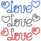 Η αγάπη λέξης και επισυμένος την προσοχή μια καρδιά στα σχοινιά απεικόνιση αποθεμάτων