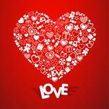 η αγάπη ανασκόπησης κόκκινη αυξήθηκε λευκό συμβόλων Στοκ Φωτογραφία