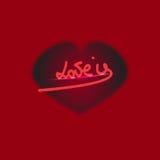 ` Η αγάπη είναι εγγραφή χεριών ` grunge με την καρδιά Στοκ Φωτογραφίες
