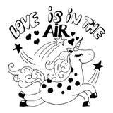η αγάπη είναι στο μονόκερο αέρα Στοκ Φωτογραφίες
